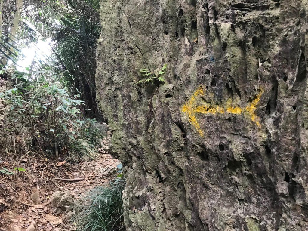 岩壁に矢印