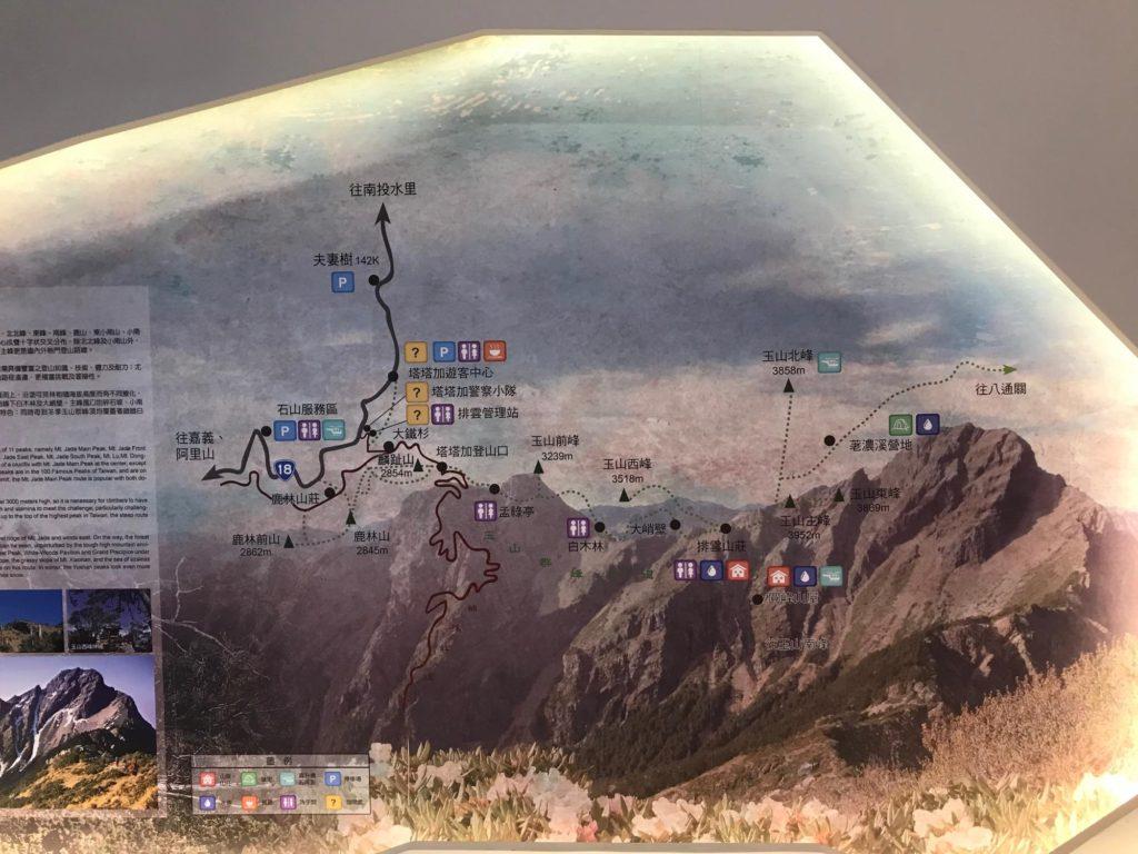 玉山の登山地図