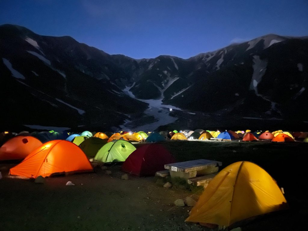 雷鳥沢キャンプ場テント泊